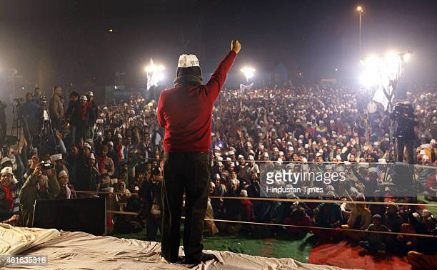 AAP leader Arvind Kejriwal addressing Delhi Dialogue during an election rally ahead of the upcoming Delhi Assembly Elections 2015 at Trilokpuri on...