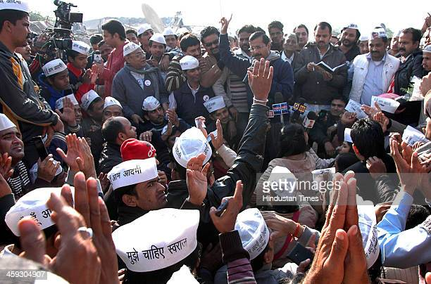 AAP leader Arvind Kejriwal called a Janta Darbar at his office in Kaushambi area on December 25 2013 in Ghaziabad India Kejriwal who led Aam Aadmi...
