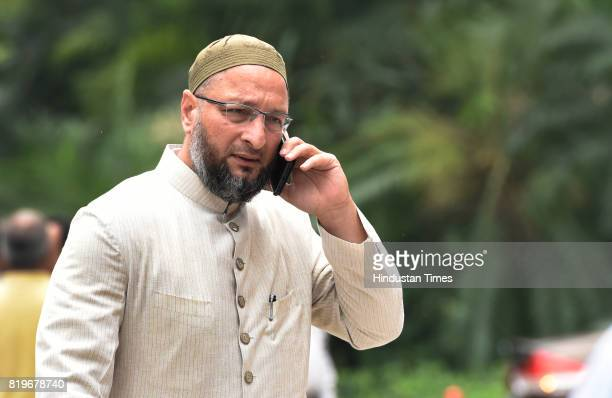 MIM leader Asaduddin Owaisi at Parliament House during the Monsoon Session on July 20 2017 in New Delhi India