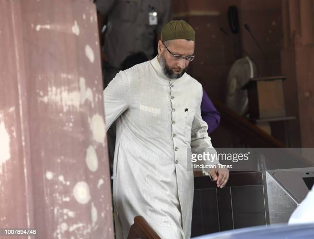 AIMIM leader Asaduddin Owaisi coming out from the parliament house during the Monsoon session on July 30 2018 in New Delhi India