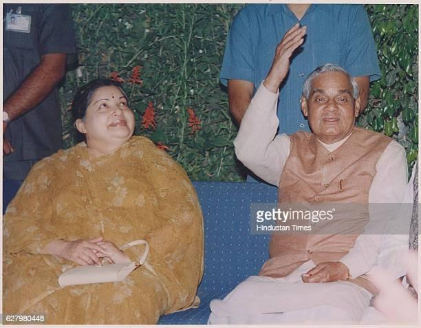 BJP Leader Atal Bihari Vajpayee with AIADMK chief Jayalalithaa on March 27 1997 in New Delhi India Tamil Nadu Chief Minister J Jayalalithaa suffered...
