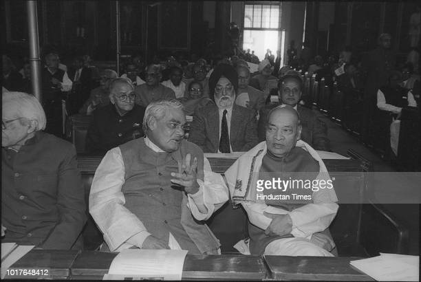 BJP Leader Atal Bihari Vajpayee with former Prime Minister PV Narsimha Rao during 50th Year of Independence Day Parliament House Function Former...