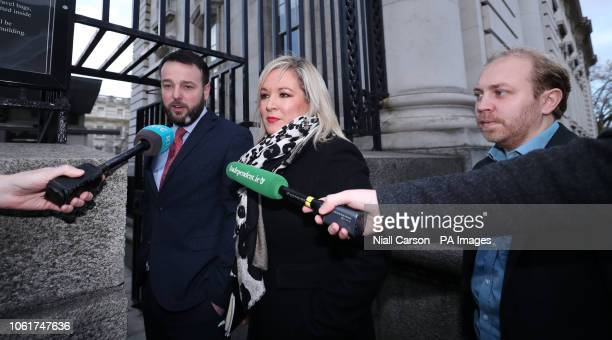 Leader Colm Eastwood, Sinn Fein Deputy Leader Michelle O'Neill and Northern Ireland Green Party Leader Steven Agnew, arrive for a Brexit briefing...
