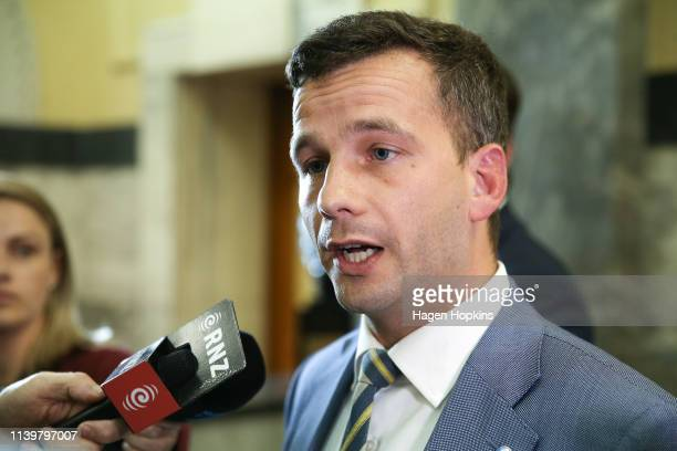 Leader David Seymour speaks to media on his way to the House at Parliament on April 02, 2019 in Wellington, New Zealand. Parliament was suspended...