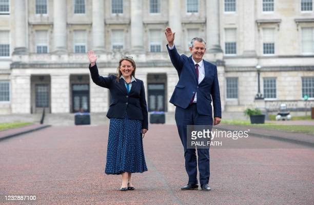 Leader Designate of the Democratic Unionist Party , Edwin Poots and designate deputy leader Paula Bradley, pose for a photograph during a press...