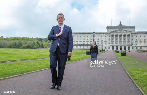 Leader Designate of the Democratic Unionist Party , Edwin Poots and designate deputy leader Paula Bradley, arrive to attend a press conference...