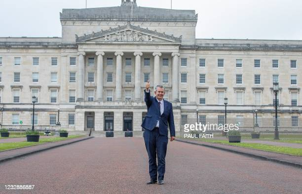 Leader Designate of the Democratic Unionist Party , Edwin Poots poses for a photograph following the DUP Leadership Election, outside Parliament...