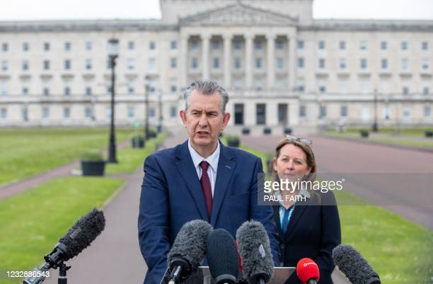 Leader Designate of the Democratic Unionist Party , Edwin Poots speaks during a press conference following the DUP Leadership Election, outside...