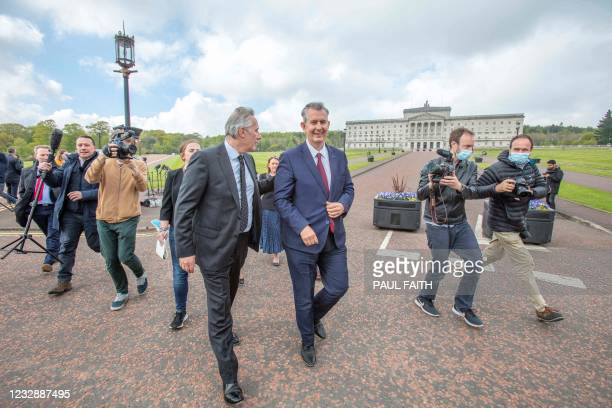Leader Designate of the Democratic Unionist Party , Edwin Poots speaks to the media following the DUP Leadership Election, outside Parliament...