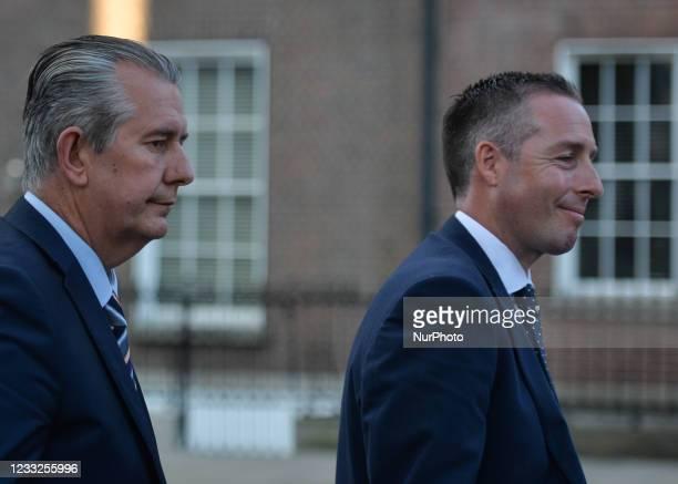 Leader Edwin Poots and Paul Givan leave Government Buildings in Dublin after meeting Taoiseach Micheal Martin . On Thursday, 3 June in Dublin,...