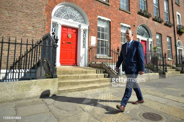 Leader Edwin Poots walks in Dublin city center after attending a press briefing, and before a meeting with Taoiseach Micheal Martin at Government...
