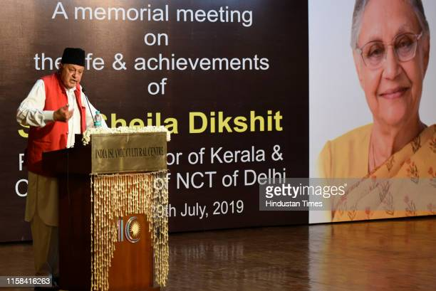 NC leader Farooq Abdullah speaks during a memorial meeting on the life and achievements of former Chief minister of Delhi Sheila Dixit at India...