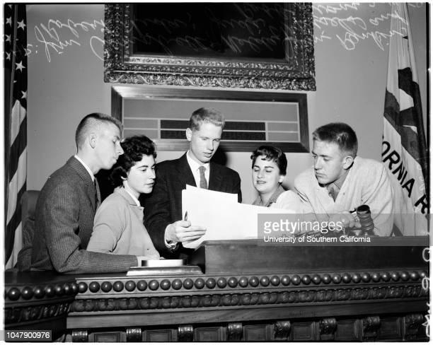 YMCA leader from Southern California arriving Sacramento Legislature 14 February 1958 John Whitman Robb Evans Jan Panberry Governor Goodwin...