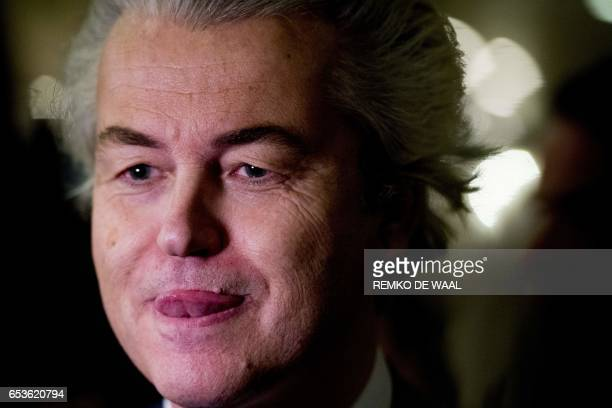 TOPSHOT PVV leader Geert Wilders speaks to the press on election night in The Hague on March 15 2017 The Liberal party of Dutch Prime Minister Mark...