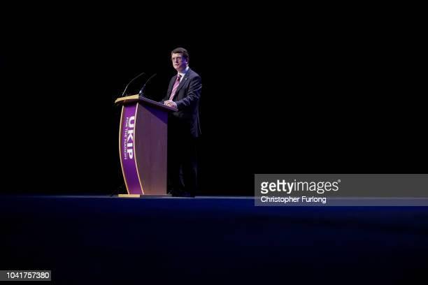 UKIP leader Gerard Batten MEP addresses delegates during the UKIP annual conference at the International Convention Centre on September 21 2018 in...