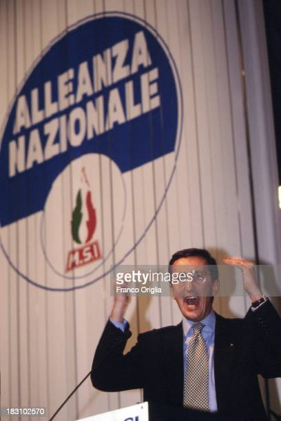Leader Gianfranco Fini holds a speech during the national congress of 'Alleanza Nazionale' party, announcing its new name from former MSI on January...