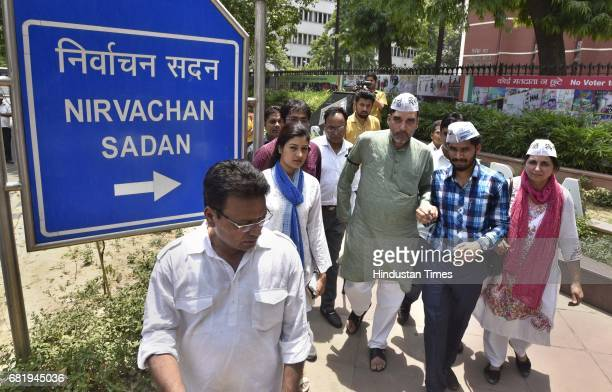 AAP leader Gopal Rai along with Alka Lamba and Nitin Tyagi and supporters protests against the EVM machines used in the recent elections demanding...