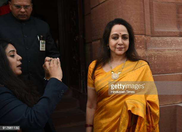 BJP leader Hema Malini arrives at Parliament to attend the Budget Session at Parliament House on February 1 2018 in New Delhi India Agriculture got...