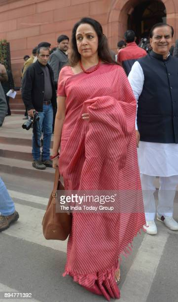 BJP leader Hema Malini arrives on the first day of the winter session of Parliament in New Delhi