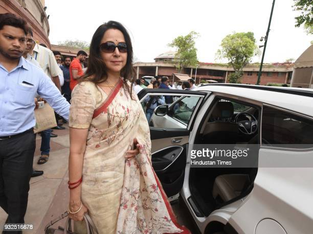 BJP leader Hema Malini during the Budget session of the parliament at Parliament House on March 15 2018 in New Delhi India