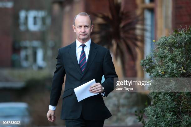Leader Henry Bolton addresses the assembled media outside the Grand Hotel on January 22 2018 in Folkestone England Mr Bolton yesterday lost a vote of...