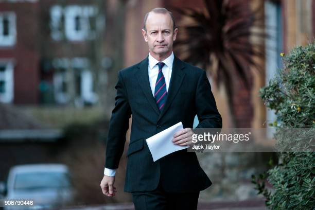 Leader Henry Bolton addresses the assembled media outside the Grand Hotel on January 22 2018 in Folkestone England Mr Bolton has lost a vote of...