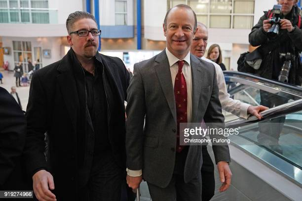 UKIP leader Henry Bolton arrives for the UKIP ExtraOrdinary Leadership Metting at the International Convention Centre on February 17 2018 in...