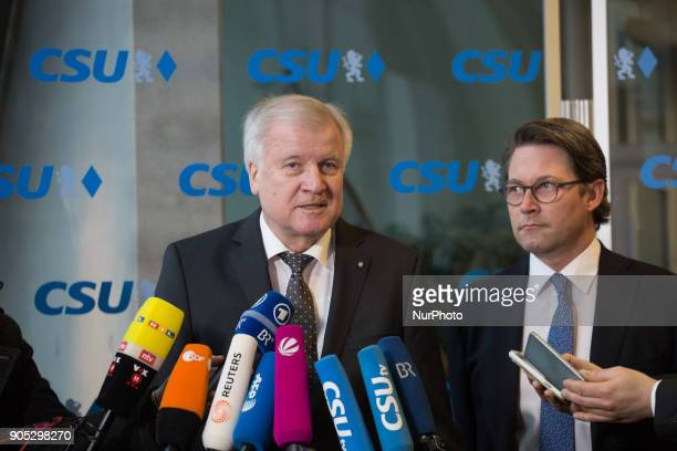 CSU leader Horst Seehofer and General Secretary Andreas Scheuer The Christian Social Union held a board meeting after the exploration talks for a new...