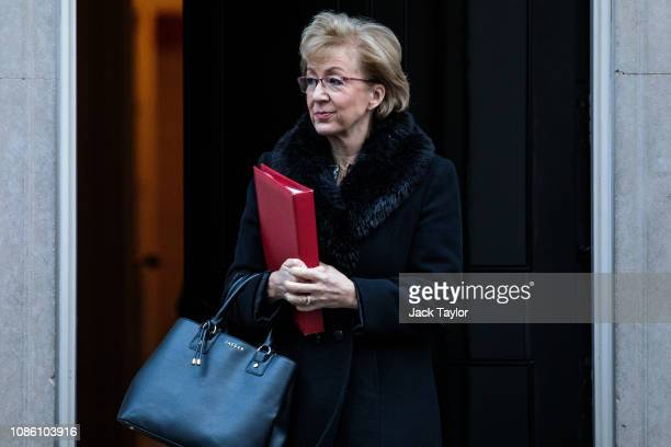 Leader House of the Commons Andrea Leadsom leaves following the weekly cabinet meeting at Downing Street on January 22 2019 in London England The...