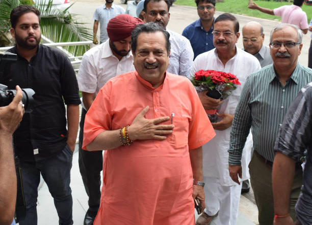 RSS leader Indresh Kumar at Golden Jubilee hall to attend a seminar in Panjab University on August 2 2017 in Chandigarh India