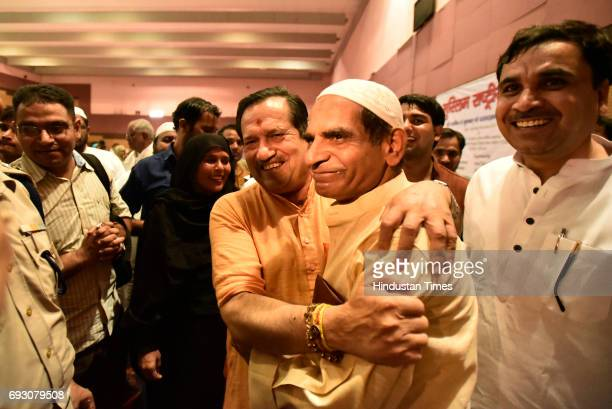 RSS leader Indresh Kumar during the Iftar party organised by RSS Muslim faction Rashtriya Muslim Manch on June 5 2017 in New Delhi India Police...