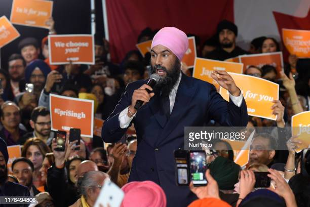 NDP Leader Jagmeet Singh speaks in an election rally in BramptonCanada on October 17 2019