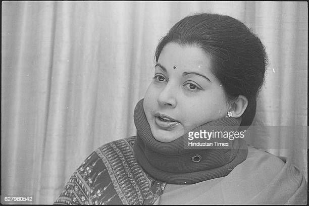 AIADMK Leader Jayalalithaa during press conference on April 7 1989 in New Delhi India Tamil Nadu Chief Minister J Jayalalithaa suffered a cardiac...