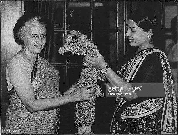 AIADMK Leader Jayalalithaa the newly elected Rajya Sabha Member with the Prime Minister Indira Gandhi on April 21 1984 in New Delhi India Tamil Nadu...