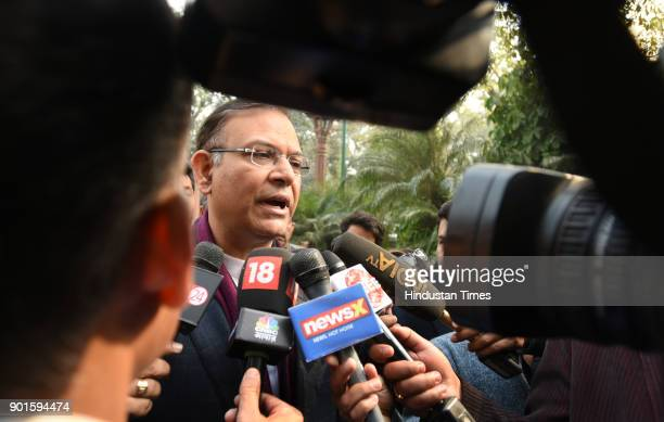 BJP leader Jayanat Sinha talking to media persons during the last day of the parliament winter session at Parliament House on January 5 2018 in New...