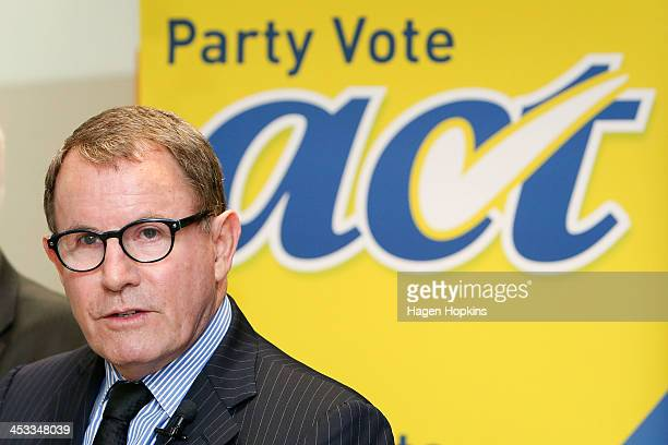 ACT leader John Banks looks on during an ACT New Zealand press conference at Bowen House on December 4 2013 in Wellington New Zealand ACT leader John...