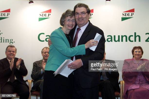 Leader John Hume hugs his west Tyrone candidate Agricultural Minister Brid Rogers at the party's Westminister candidate launch in Belfast, ahead of...