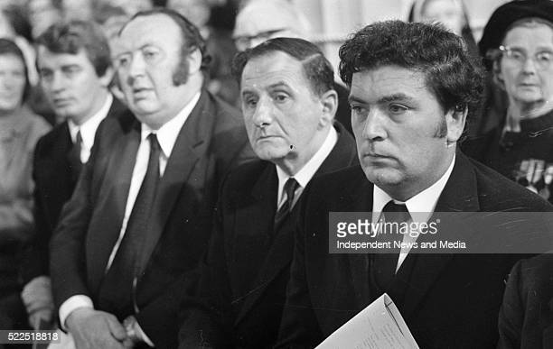 SDLP leader John Hume with Fine Gael deputy Oliver J Flanagan Paddy Dopherty and Austin Currie of the SDLP at the funeral Mass in the ProCathedral...