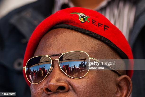 Leader, Julius Malema during an election rally on April 18, 2014 in South Africa. Malema travelled to the Free State over the weekend as part of the...