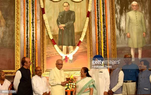 BJP leader L K Advani Lok Sabha leader Sumitra Mahajan Ghulam Nabi Azad and others pay floral tribute to Dr BR Ambedkar at Parliament House on April...