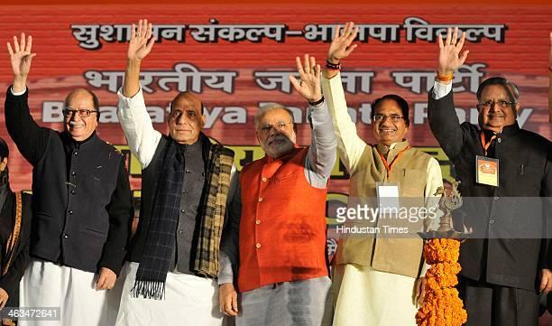 BJP leader L K Advani President Rajnath Singh party's Prime Ministerial candidate Narendra Modi Madhya Pradesh Chief Minister Shivraj Singh Chauhan...
