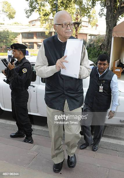 BJP leader Lal Krishna Advani at Parliament House during the Parliament winter session on December 9 2014 in New Delhi India Parliament passed The...