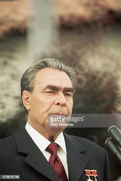 Leader Leonid Brezhnev prepares to speak before returning home from his visit to California