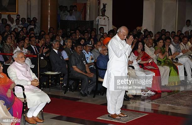 Leader LK Advani going to receive the Padma Vibhushan award from President Pranab Mukherjee during a Civil Investiture Ceremony at Rashtrapati Bhavan...