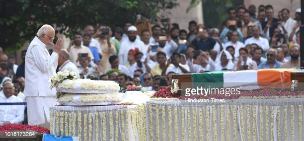 Leader LK Advani pays his final respects during the cremation ceremony of former Prime Minister Late Atal Bihari Vajpayee at Rashtriya Smriti Sthal...
