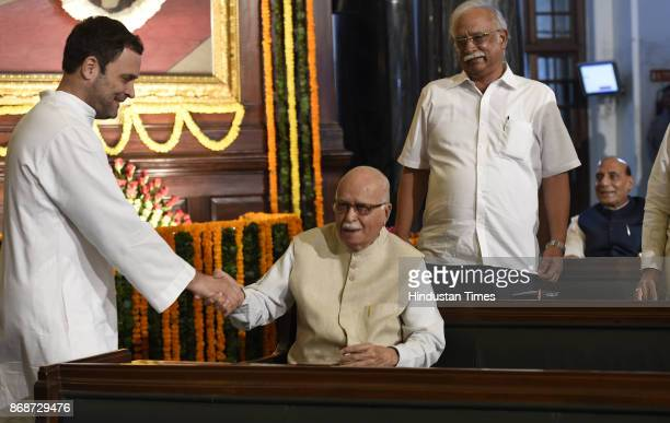 BJP leader LK Advani with Congress Vice President Rahul Gandhi and other leaders on birth of Sardar Vallabhbhai Patel at Parliament House on October...