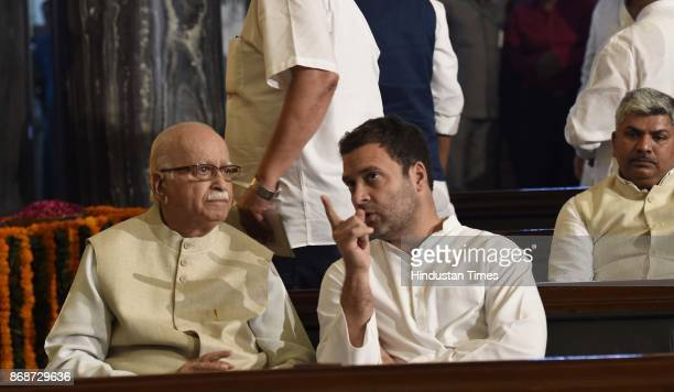Leader LK Advani with Congress Vice President Rahul Gandhi during paying floral tributes on the portrait of Sardar Vallabhbhai Patel on his birth...