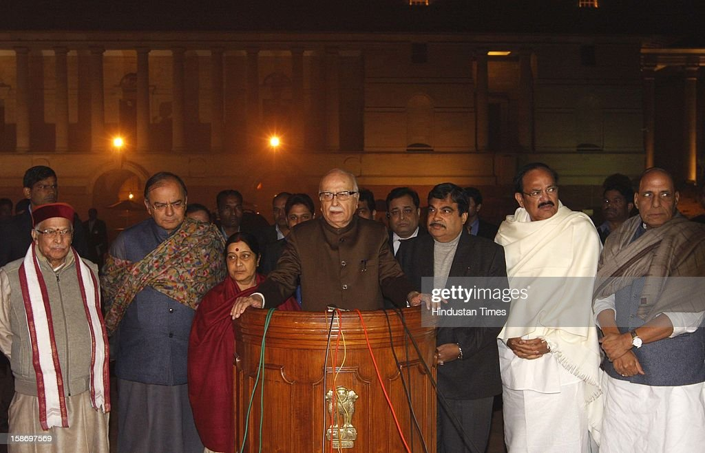 BJP Leader LK Advani with his party delegation addressing media after meeting with President Pranab Mukherjee on Gang Rape issue at Rashtrapati Bhawan on December 24, 2012 in New Delhi, India. 7 members BJP delegation including Nitin Gadkari, Sushma Swaraj, Arun Jaitley, Murli Manohar Joshi, Rajnath Singh and M Venkaiah Naidu met the president after government turned down both of its suggestion for convening a special Parliament session and holding an all-party meeting.