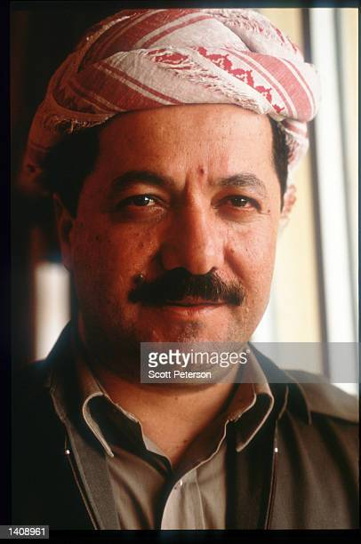 PDK leader Massoud Barzani stands April 16 1996 in northern Iraq Efforts by the Kurds to achieve autonomy or independence for the region have been...