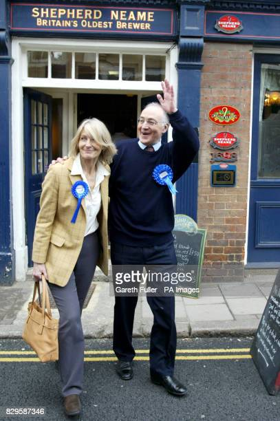 Leader Michael Howard with wife Sandra during an election campaign visit to his own constituency of Folkestone and Hythe in Kent